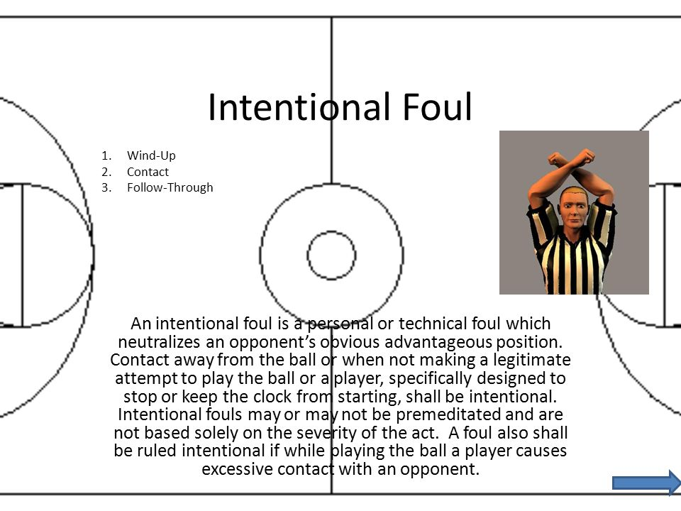 Intentional Foul An intentional foul is a personal or technical foul which neutralizes an opponent's obvious advantageous position.
