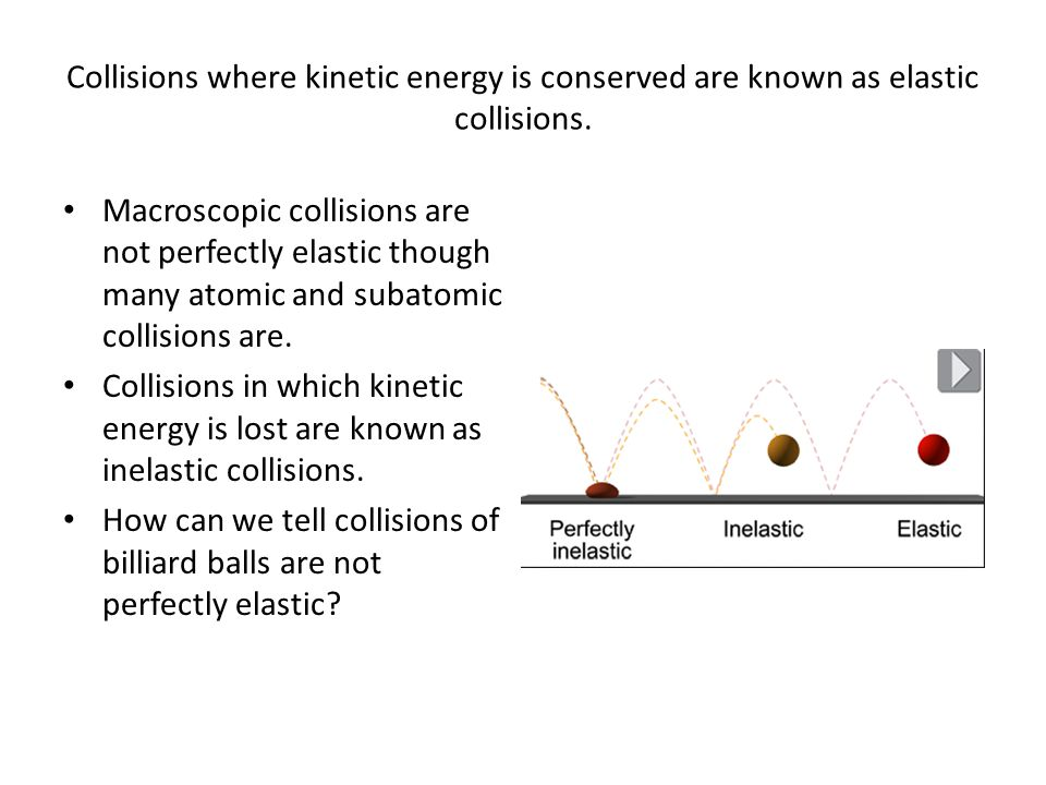 Collisions where kinetic energy is conserved are known as elastic collisions.