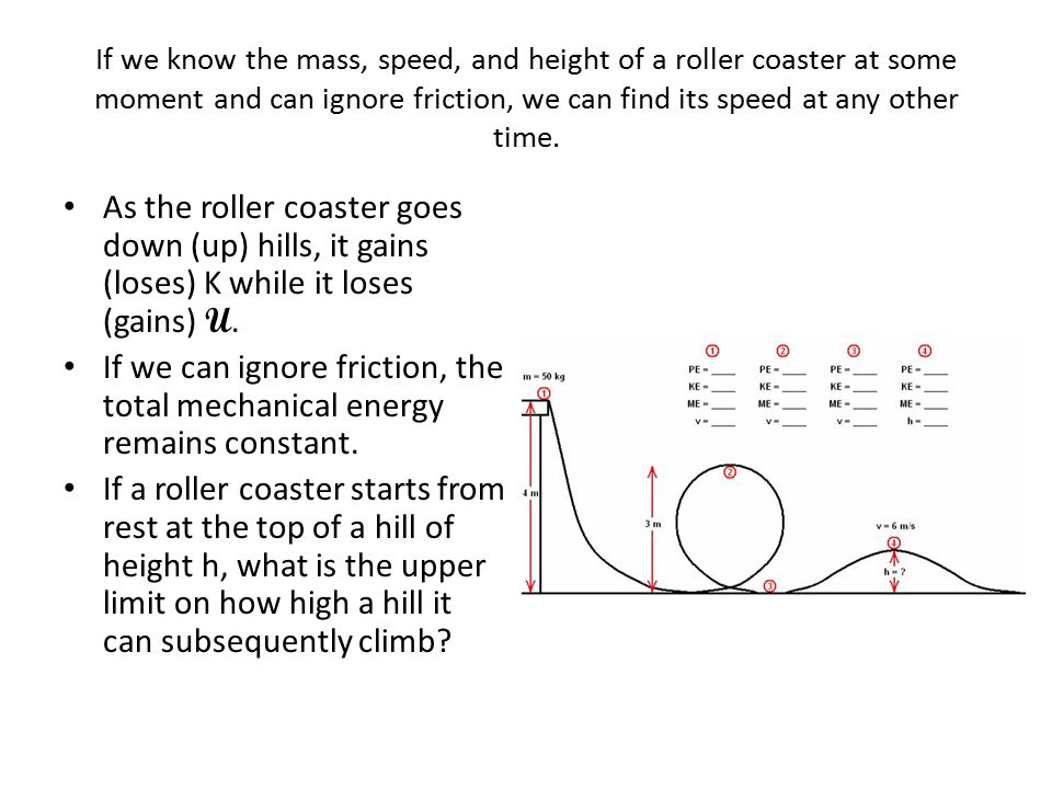 If we know the mass, speed, and height of a roller coaster at some moment and can ignore friction, we can find its speed at any other time.