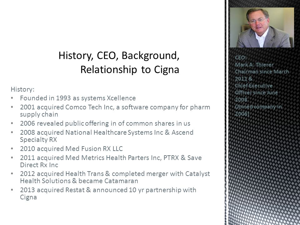 History: Founded in 1993 as systems Xcellence 2001 acquired Comco Tech Inc, a software company for pharm supply chain 2006 revealed public offering in