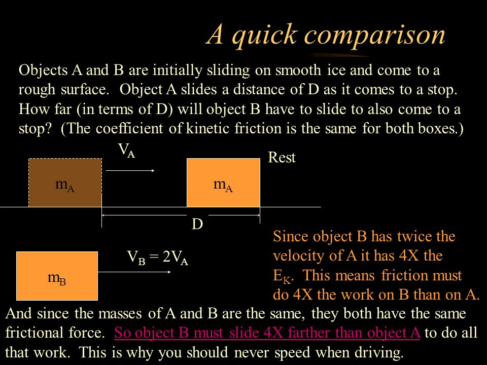 A quick comparison Objects A and B are initially sliding on smooth ice and come to a rough surface.