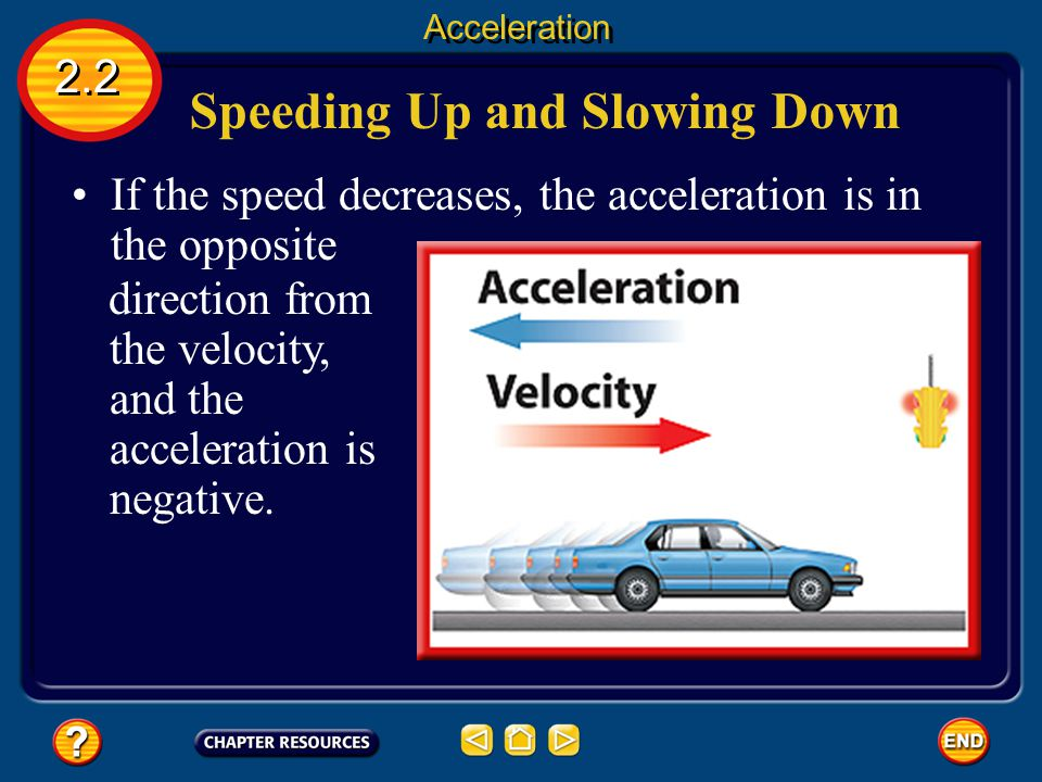 Speeding Up and Slowing Down 2.2 Acceleration If the acceleration is in the same direction as the velocity, the speed increases and the acceleration is positive.