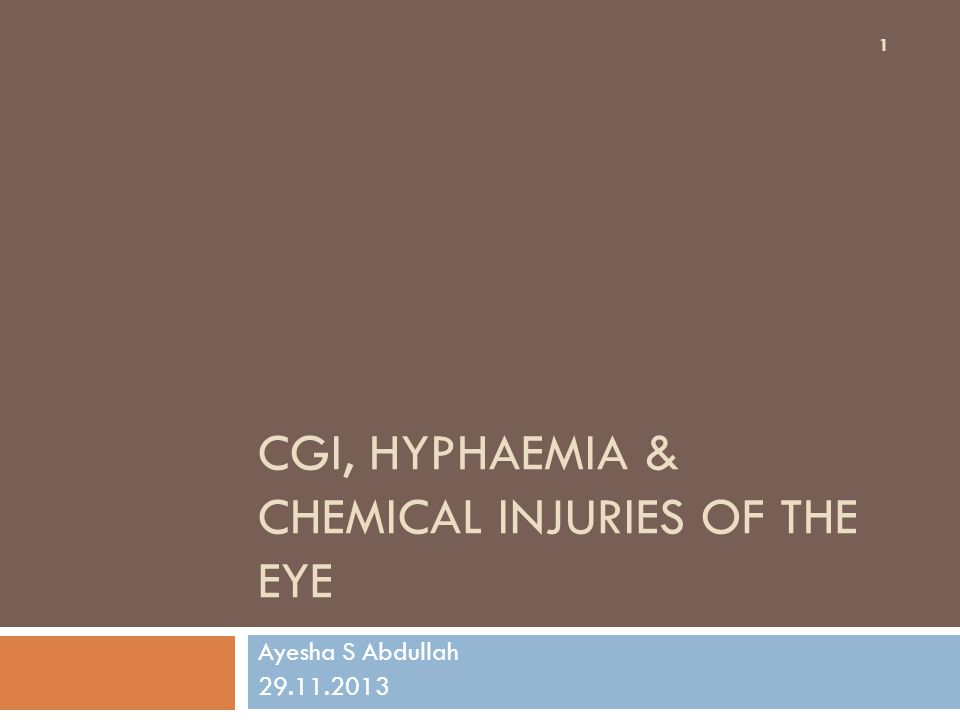 Learning outcomes By the end of this lecture the students would be able to 1.Correlate the effects of CGI on various parts of the eye with the mechanism of close globe trauma 2.Identify the complications of CGI 3.Diagnose hyphaema and describe the principles of management and complications of hyphaemia 4.Correlate the pathophysiology of chemical injury (with acids and alkali) to the clinical presentation & complications of chemical injuries of the eye 5.