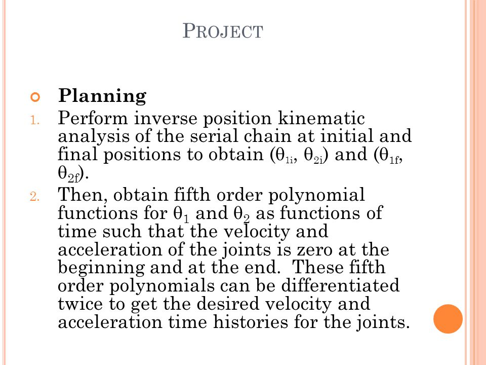 P ROJECT Planning 1.