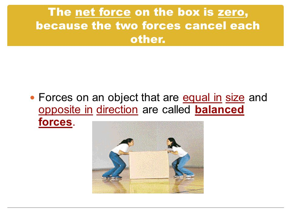 The net force on the box is zero, because the two forces cancel each other.