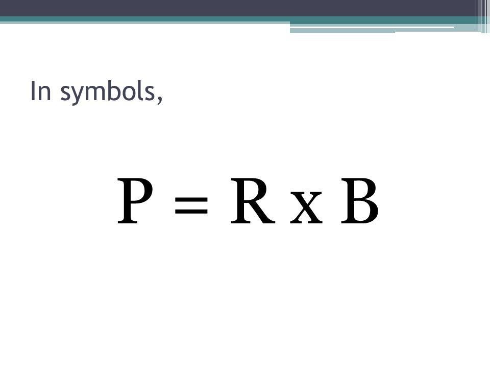 In symbols, P = R x B