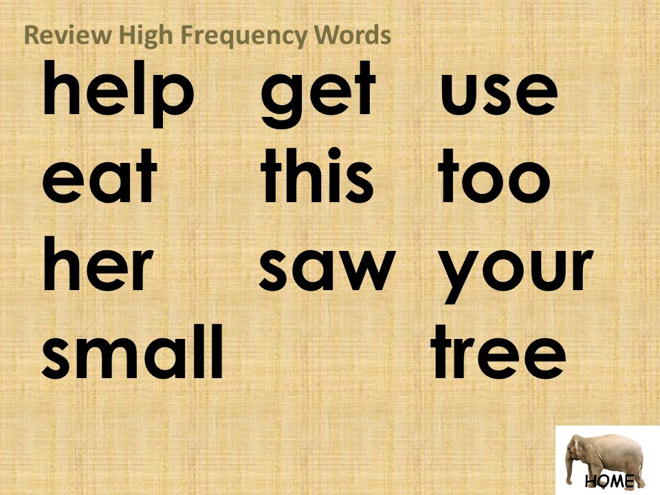 HOME Review High Frequency Words help get use eat this too her saw your small tree