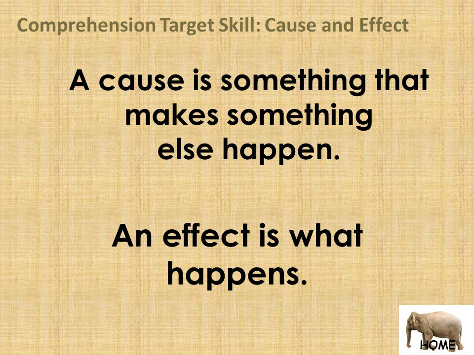 HOME Comprehension Target Skill: Cause and Effect A cause is something that makes something else happen.