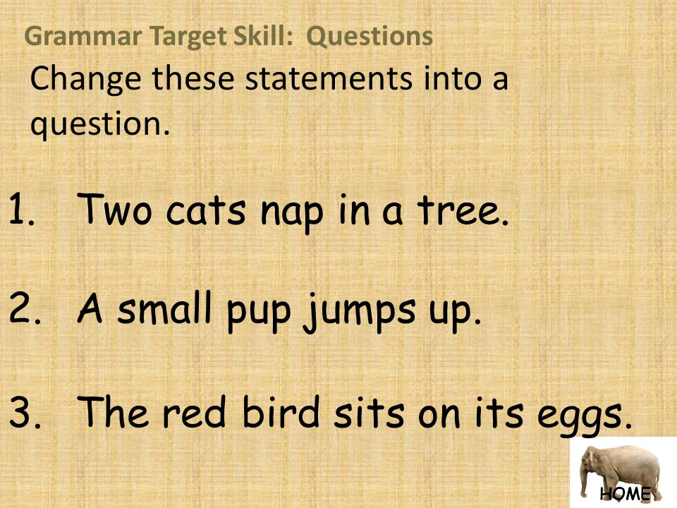 HOME Grammar Target Skill: Questions Change these statements into a question.