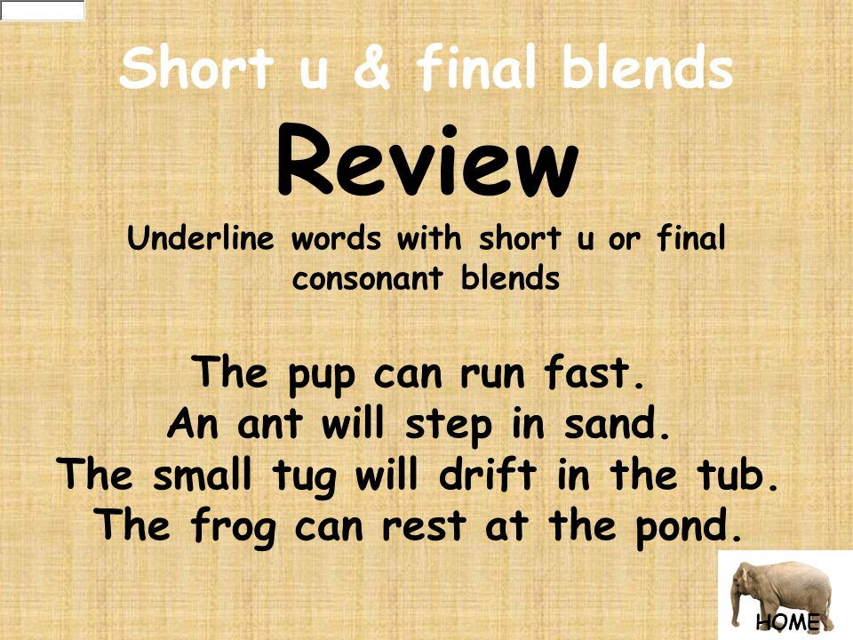 Short u & final blends Review Underline words with short u or final consonant blends The pup can run fast.