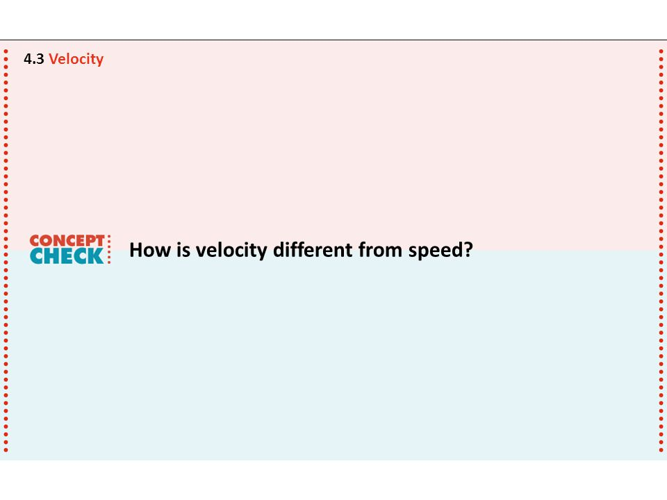 How is velocity different from speed? 4.3 Velocity