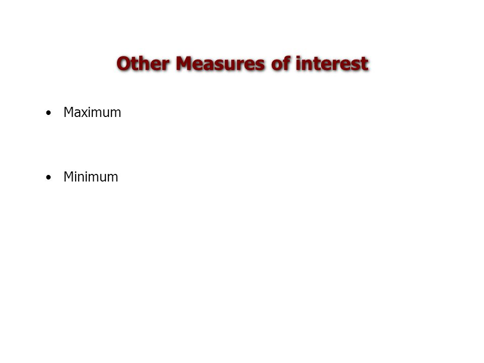 Other Measures of interest Maximum Minimum