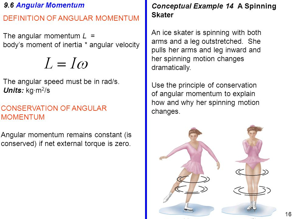 9.6 Angular Momentum DEFINITION OF ANGULAR MOMENTUM The angular momentum L = body's moment of inertia * angular velocity The angular speed must be in