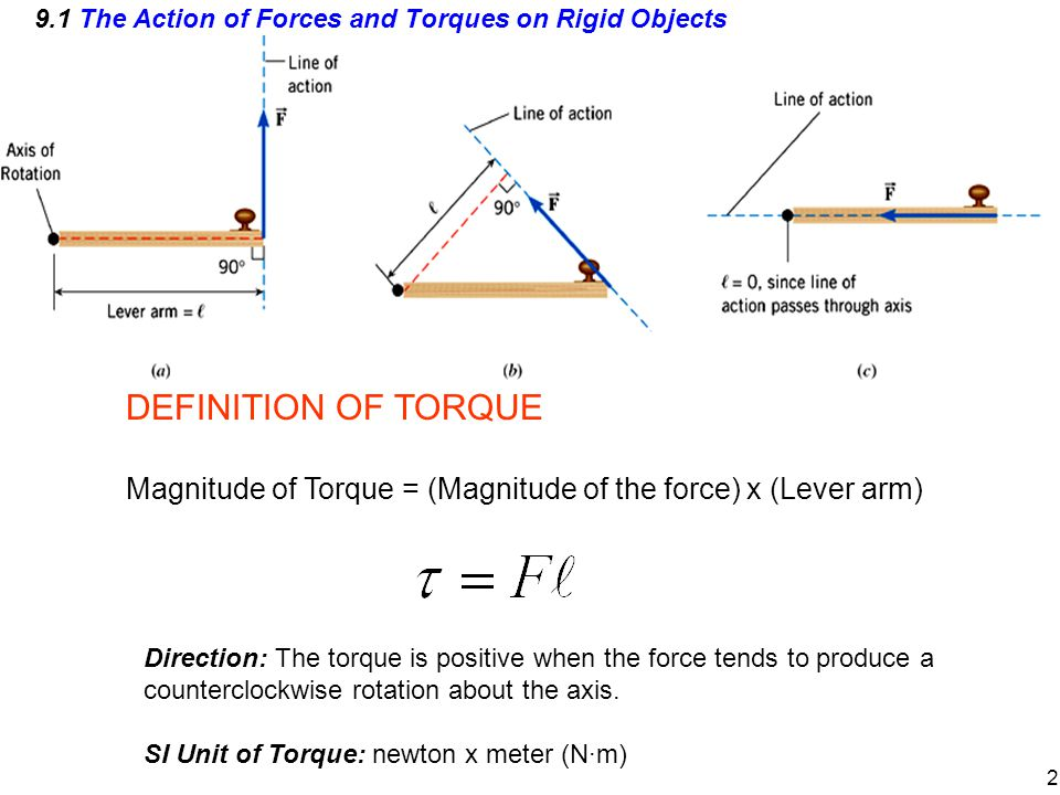 9.1 The Action of Forces and Torques on Rigid Objects DEFINITION OF TORQUE Magnitude of Torque = (Magnitude of the force) x (Lever arm) Direction: The torque is positive when the force tends to produce a counterclockwise rotation about the axis.