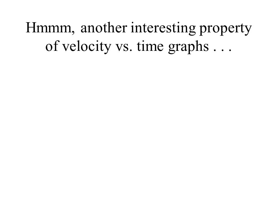 Hmmm, another interesting property of velocity vs. time graphs...