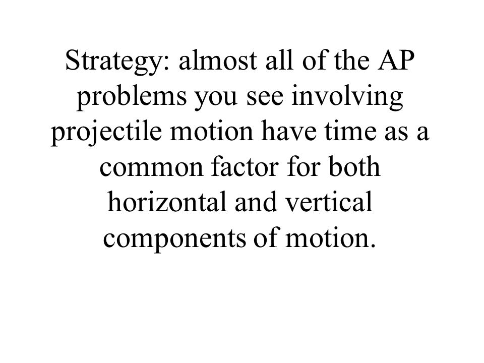 Strategy: almost all of the AP problems you see involving projectile motion have time as a common factor for both horizontal and vertical components o