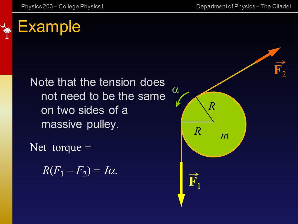 Physics 203 – College Physics I Department of Physics – The Citadel Example Note that the tension does not need to be the same on two sides of a massi