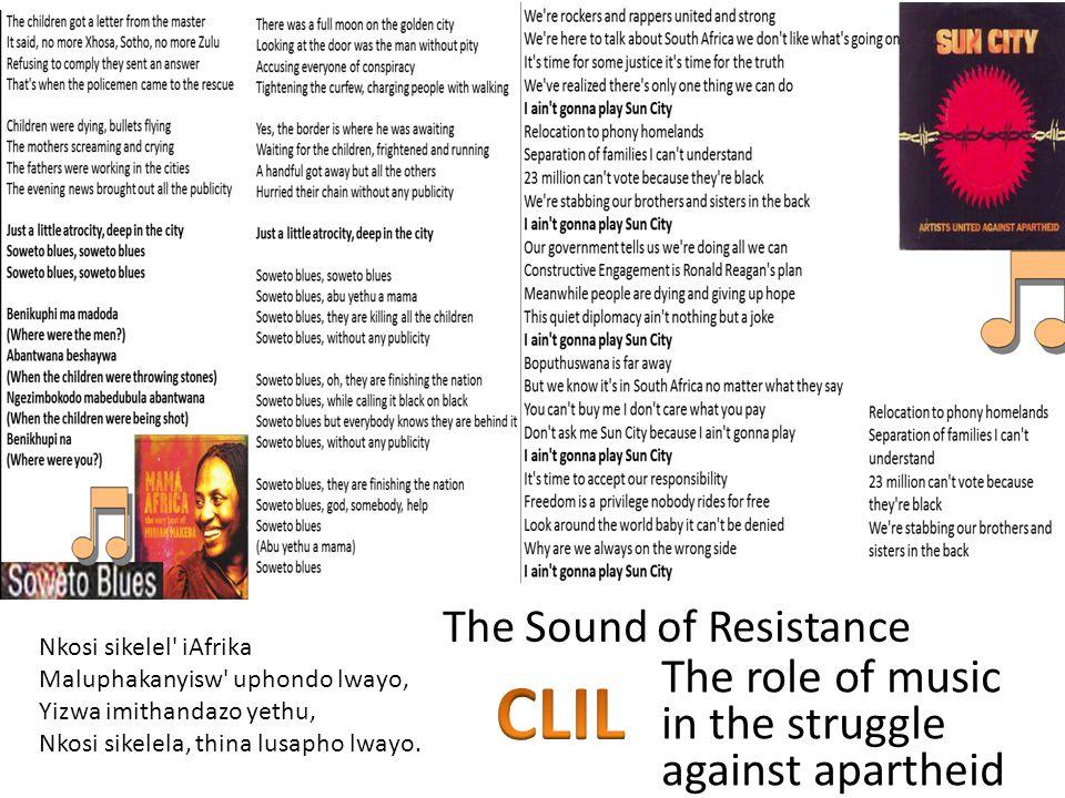 Nkosi sikelel' iAfrika Maluphakanyisw' uphondo lwayo, Yizwa imithandazo yethu, Nkosi sikelela, thina lusapho lwayo. The role of music in the struggle