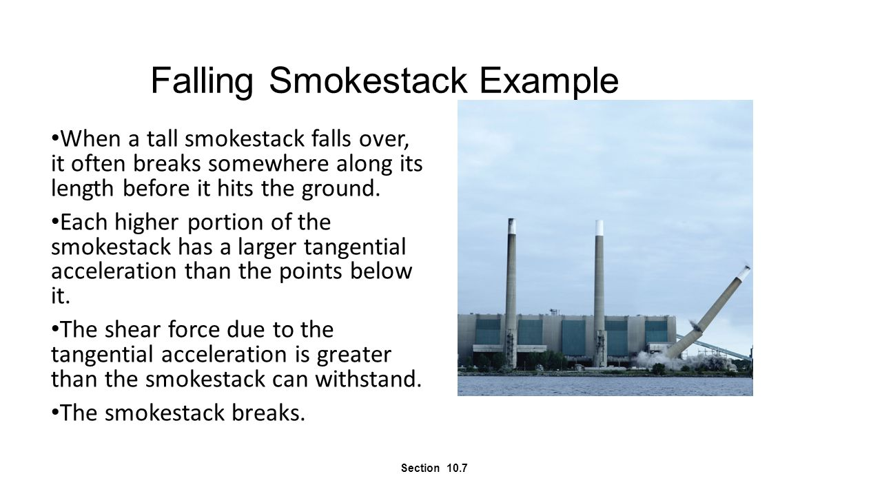Falling Smokestack Example When a tall smokestack falls over, it often breaks somewhere along its length before it hits the ground. Each higher portio