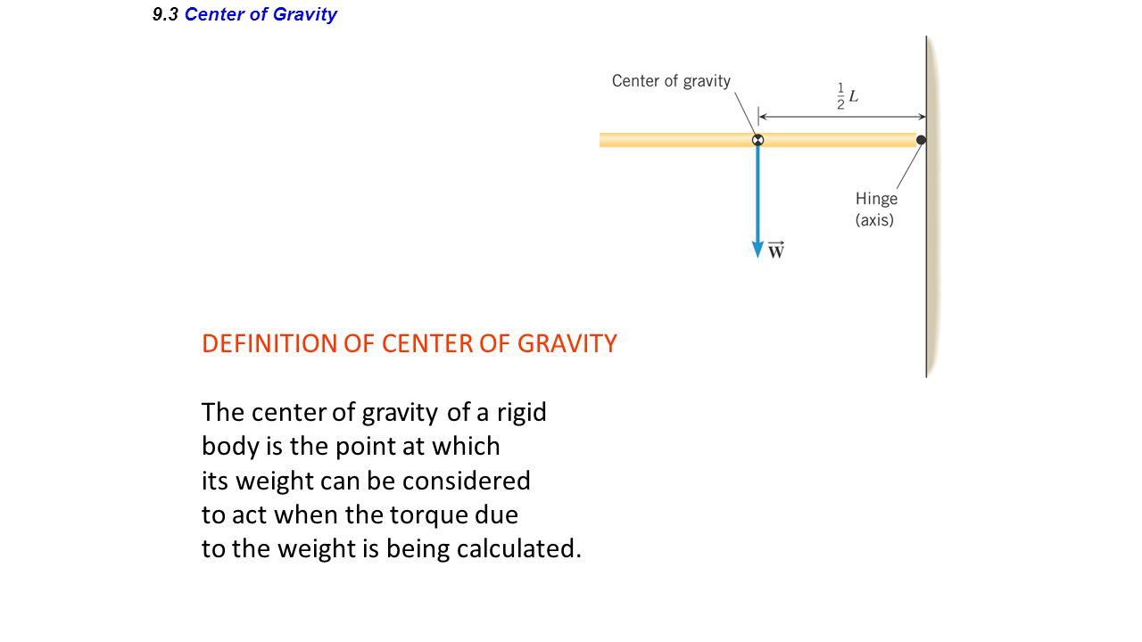 9.3 Center of Gravity DEFINITION OF CENTER OF GRAVITY The center of gravity of a rigid body is the point at which its weight can be considered to act