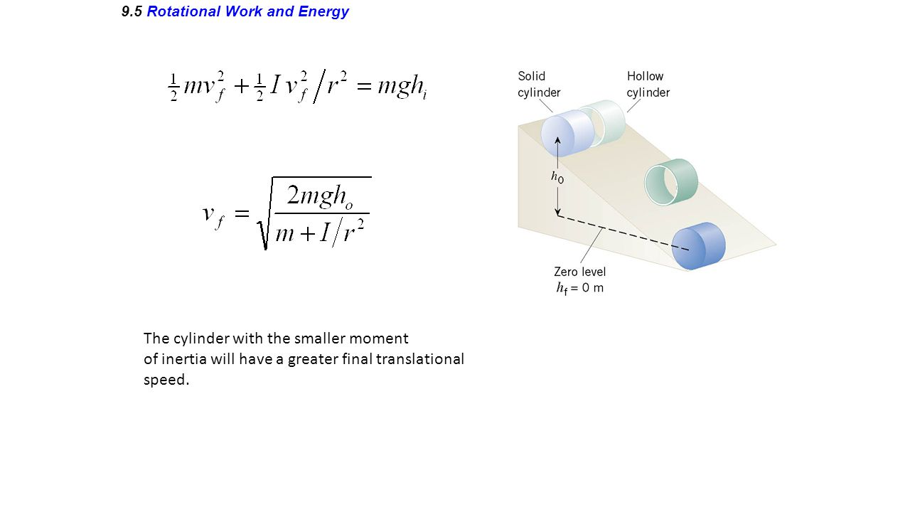 9.5 Rotational Work and Energy The cylinder with the smaller moment of inertia will have a greater final translational speed.