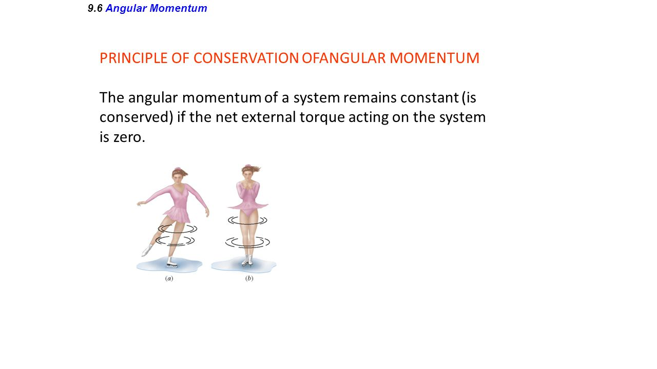 9.6 Angular Momentum PRINCIPLE OF CONSERVATION OFANGULAR MOMENTUM The angular momentum of a system remains constant (is conserved) if the net external
