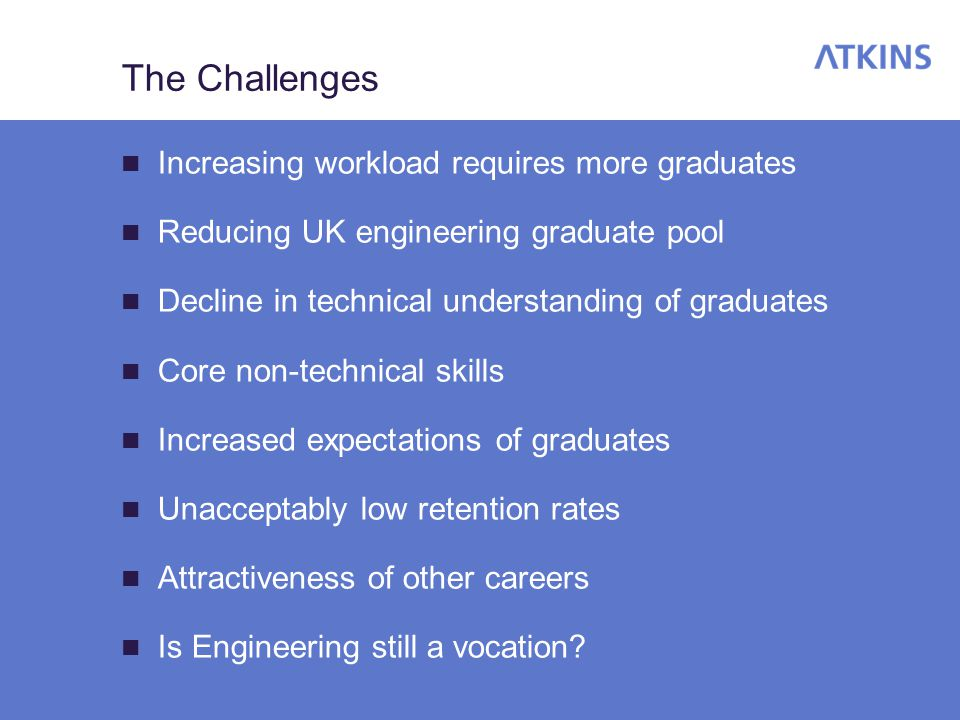 Graduate Numbers Number of engineering graduates has dropped over last 6 years, typically by around one-third No indication of the numbers picking up, especially when some courses are suspended, such as at Aston Has coincided with an increase in workload, particularly in the transportation field