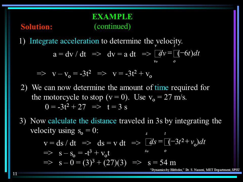 """""""Dynamics by Hibbeler,"""" Dr. S. Nasseri, MET Department, SPSU 11 EXAMPLE (continued) Solution: 2)We can now determine the amount of time required for t"""