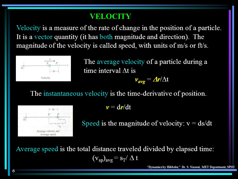 """""""Dynamics by Hibbeler,"""" Dr. S. Nasseri, MET Department, SPSU 6 VELOCITY Velocity is a measure of the rate of change in the position of a particle. It"""
