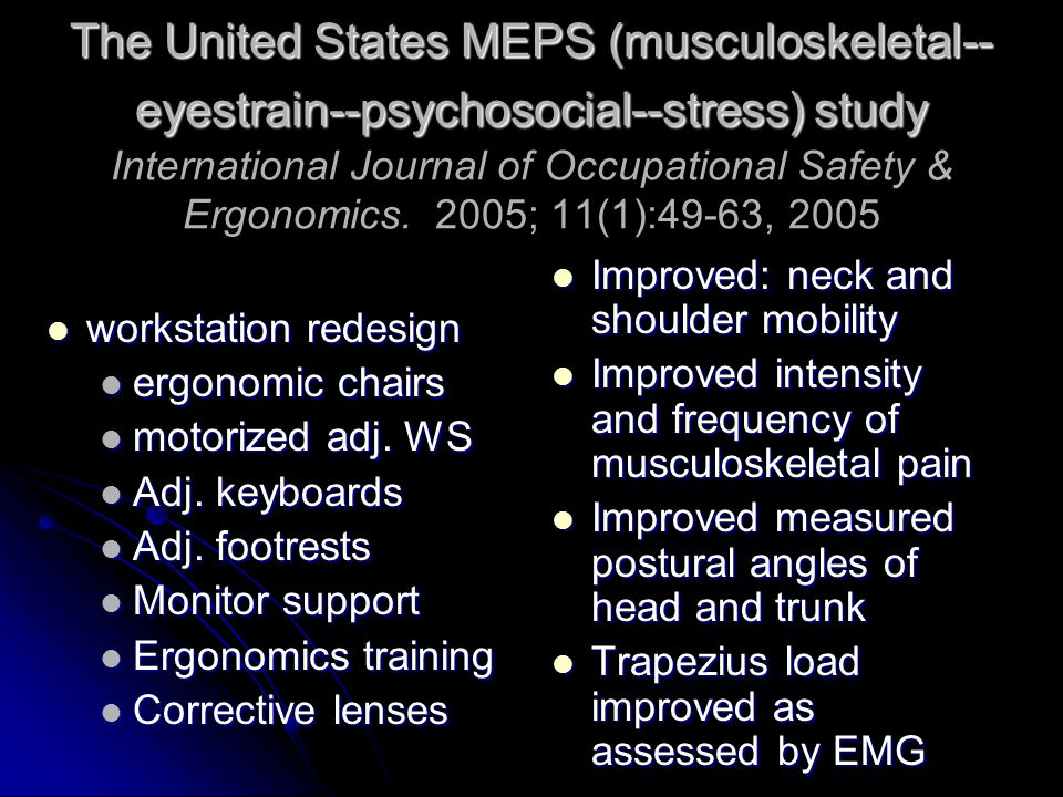 The United States MEPS (musculoskeletal-- eyestrain--psychosocial--stress) study The United States MEPS (musculoskeletal-- eyestrain--psychosocial--stress) study International Journal of Occupational Safety & Ergonomics.