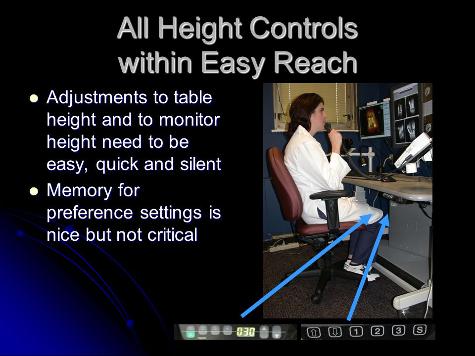 All Height Controls within Easy Reach Adjustments to table height and to monitor height need to be easy, quick and silent Adjustments to table height and to monitor height need to be easy, quick and silent Memory for preference settings is nice but not critical Memory for preference settings is nice but not critical