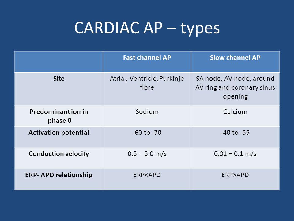 CARDIAC AP – types Fast channel APSlow channel AP SiteAtria, Ventricle, Purkinje fibre SA node, AV node, around AV ring and coronary sinus opening Pre