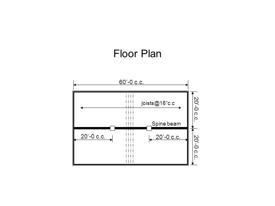 "Floor Plan joists@16""c.c Spine beam 60'-0 c.c. 20'-0 c.c."