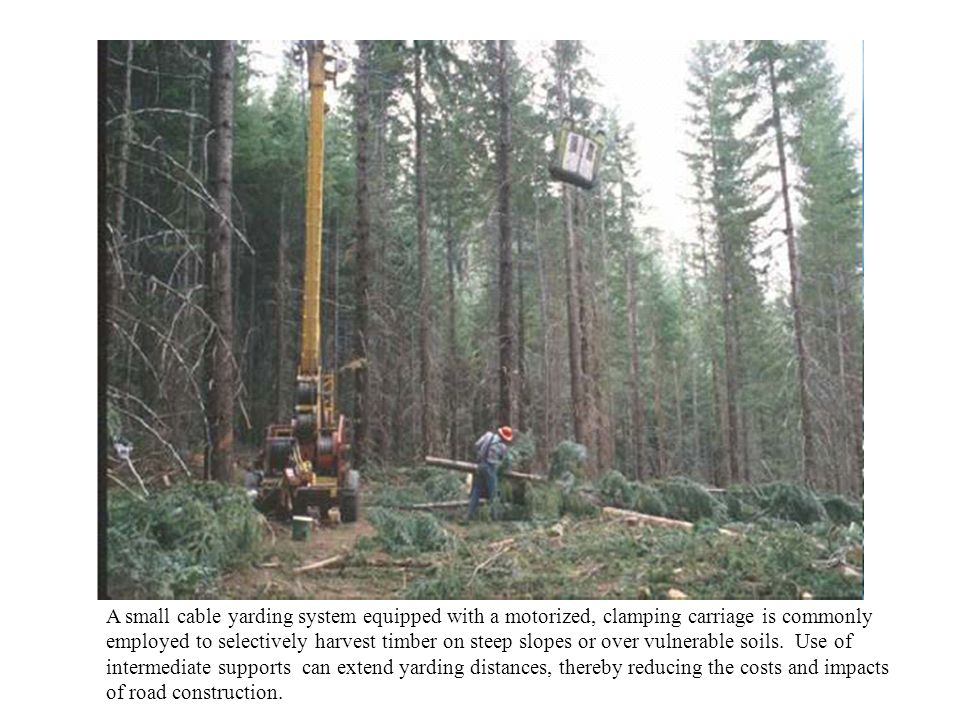 A small cable yarding system equipped with a motorized, clamping carriage is commonly employed to selectively harvest timber on steep slopes or over v
