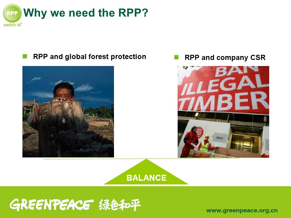 Why we need the RPP? RPP and global forest protection RPP and company CSR BALANCE