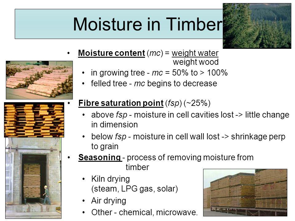 Wet atmosphere / Dry wood  moisture moves to wood Equilibrium Moisture content (emc) Dry Atmosphere / Wet wood  moisture moves from wood Wood at emc  no moisture movement to / from wood Moisture in wood at equilibrium with moisture in atmosphere Typical emc Indoor air conditionedemc 8% - 10% Indoor heatedemc 8% - 12% External - coastalemc 14% - 18% External - inlandemc 10% - 15% Indoor air conditionedemc 8% - 10% Indoor heatedemc 8% - 12% External - coastalemc 14% - 18% External - inlandemc 10% - 15%