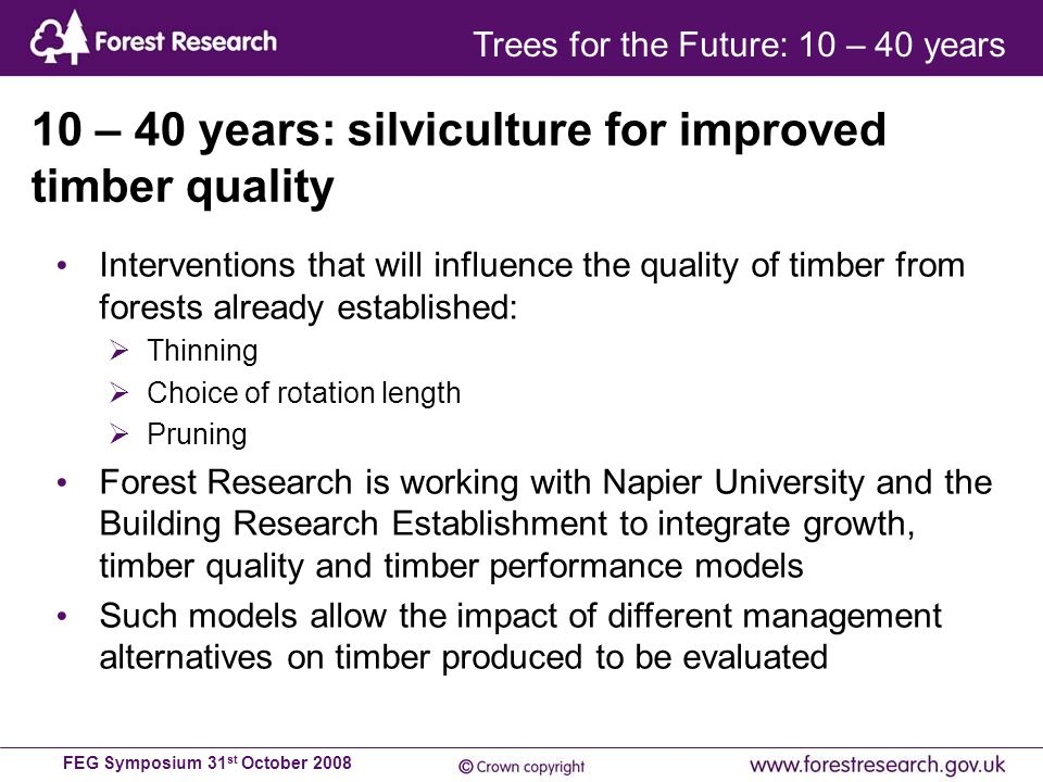 FEG Symposium 31 st October 2008 Interventions that will influence the quality of timber from forests already established:  Thinning  Choice of rotation length  Pruning Forest Research is working with Napier University and the Building Research Establishment to integrate growth, timber quality and timber performance models Such models allow the impact of different management alternatives on timber produced to be evaluated 10 – 40 years: silviculture for improved timber quality Trees for the Future: 10 – 40 years