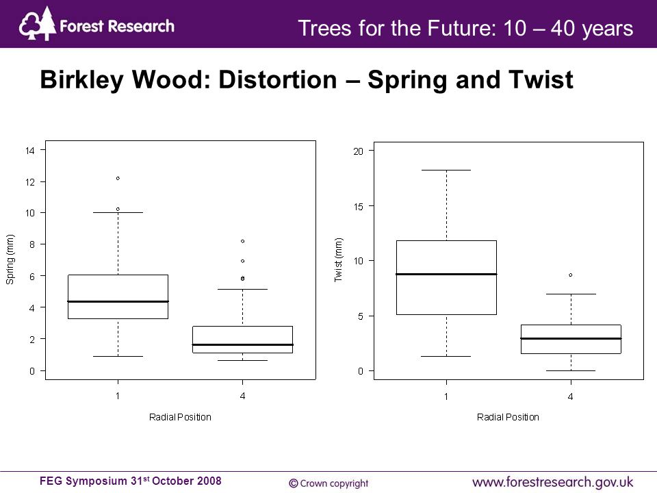 FEG Symposium 31 st October 2008 Birkley Wood: Distortion – Spring and Twist Trees for the Future: 10 – 40 years