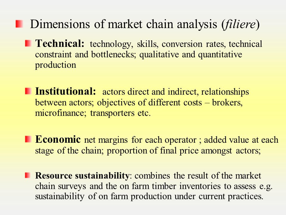 Technical: technology, skills, conversion rates, technical constraint and bottlenecks; qualitative and quantitative production Institutional: actors direct and indirect, relationships between actors; objectives of different costs – brokers, microfinance; transporters etc.