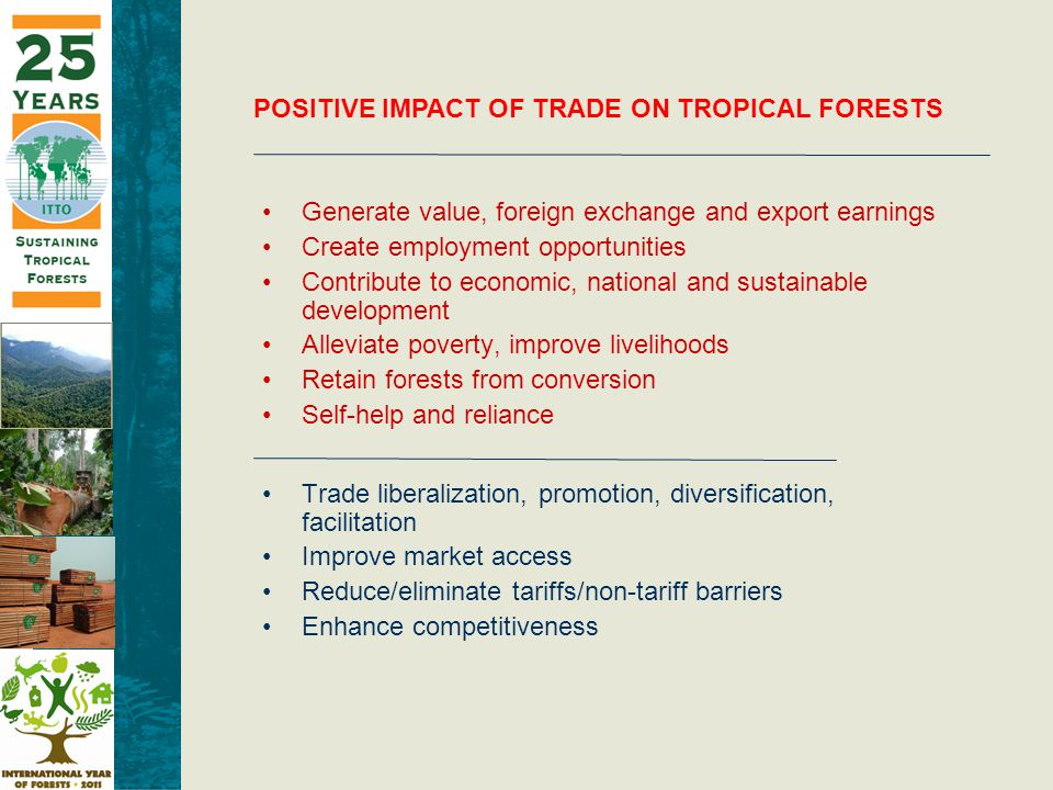 POSITIVE IMPACT OF TRADE ON TROPICAL FORESTS Generate value, foreign exchange and export earnings Create employment opportunities Contribute to economic, national and sustainable development Alleviate poverty, improve livelihoods Retain forests from conversion Self-help and reliance Trade liberalization, promotion, diversification, facilitation Improve market access Reduce/eliminate tariffs/non-tariff barriers Enhance competitiveness