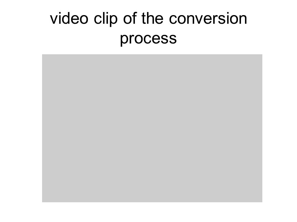 video clip of the conversion process