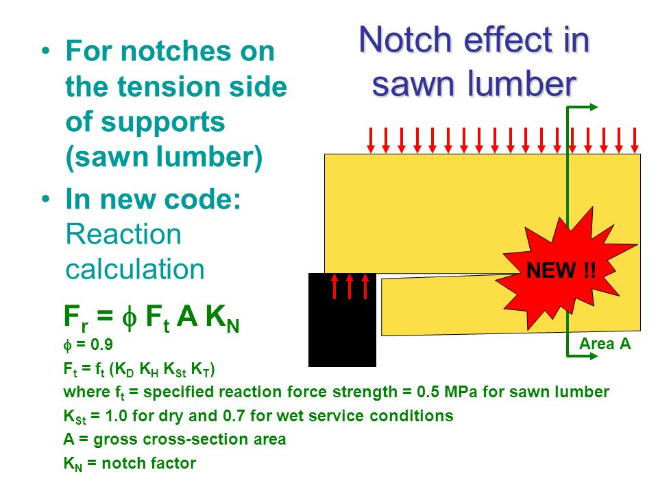 Notch effect in sawn lumber For notches on the tension side of supports (sawn lumber) In new code: Reaction calculation F r =  F t A K N  = 0.9 F t = f t (K D K H K St K T ) where f t = specified reaction force strength = 0.5 MPa for sawn lumber K St = 1.0 for dry and 0.7 for wet service conditions A = gross cross-section area K N = notch factor Area A NEW !!