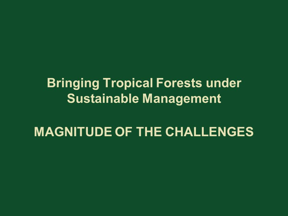 Bringing Tropical Forests under Sustainable Management MAGNITUDE OF THE CHALLENGES