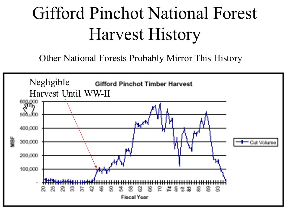Gifford Pinchot National Forest Harvest History Negligible Harvest Until WW-II Other National Forests Probably Mirror This History