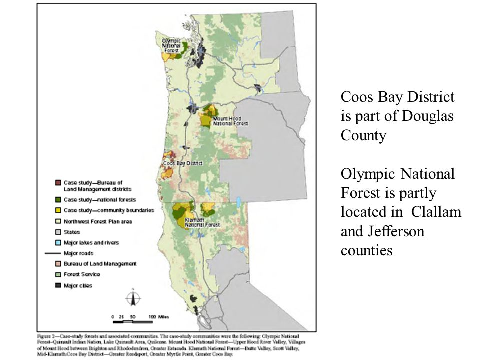 Coos Bay District is part of Douglas County Olympic National Forest is partly located in Clallam and Jefferson counties