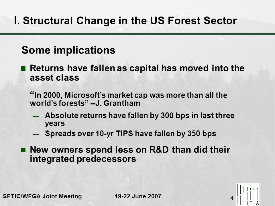 SFTIC/WFGA Joint Meeting 19-22 June 2007 4 I. Structural Change in the US Forest Sector Returns have fallen as capital has moved into the asset class