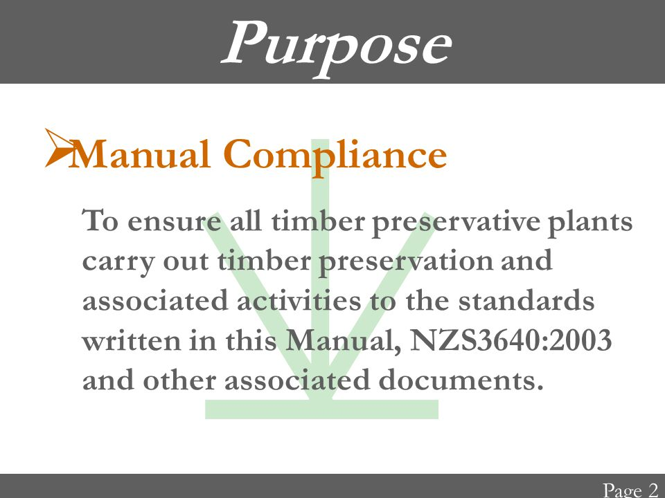 Purpose  Process Control To minimise failure by process control.