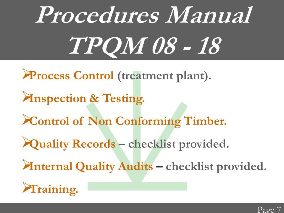 Procedures Manual TPQM 08 - 18  Process Control (treatment plant).