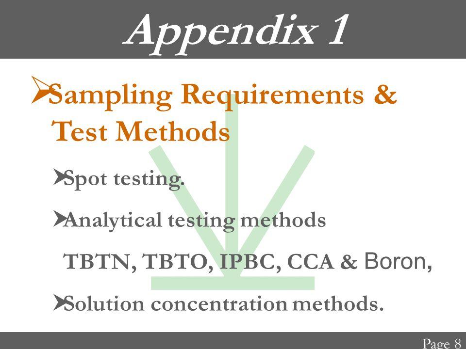 Appendix 1  Sampling Requirements & Test Methods  Spot testing.