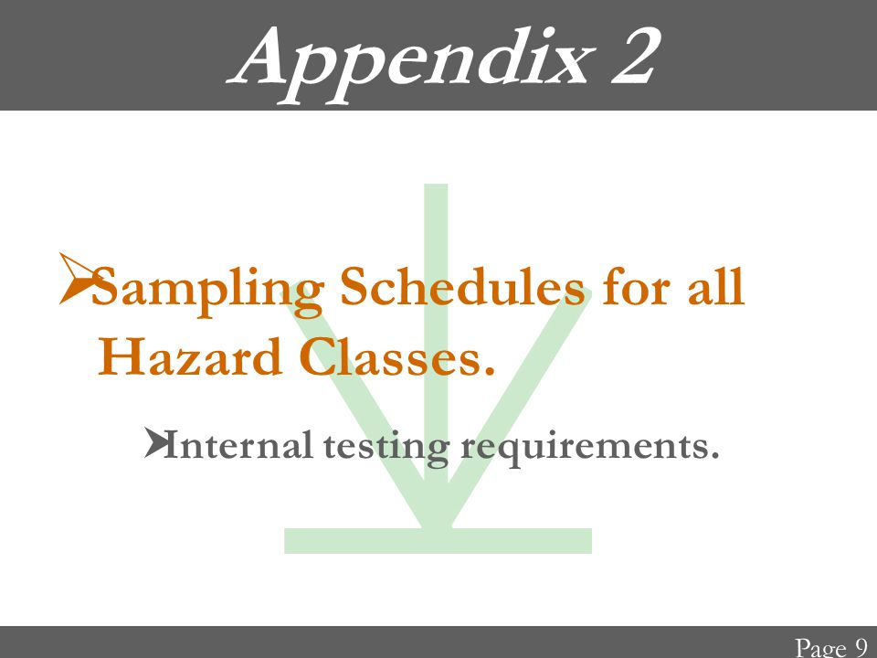 Appendix 2  Sampling Schedules for all Hazard Classes.  Internal testing requirements. Page 9